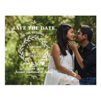 Save The Date Postcard Photo Wedding Card Leaves