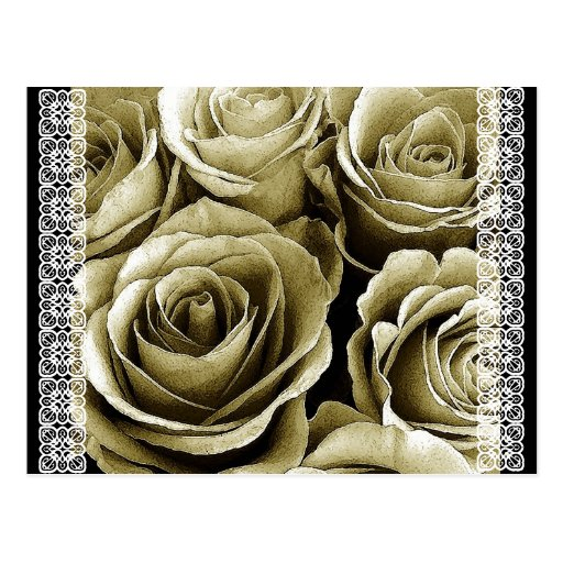 Save the Date Postcard SEPIA Roses