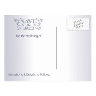 Save the Date Postcard Silver Vintage Love Birds