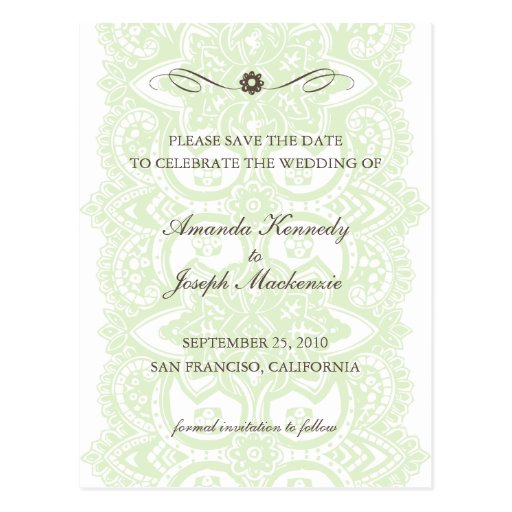 Save The Date Postcard-Vintage Blossom Green