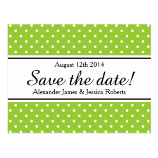 Save the date postcards | apple green polkadots
