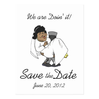 Save the Date Postcards Doin' it! Bride Groom Card