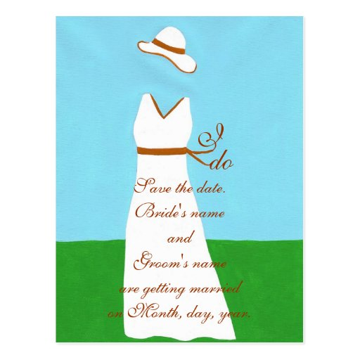 Save the date postcards wedding dress brown
