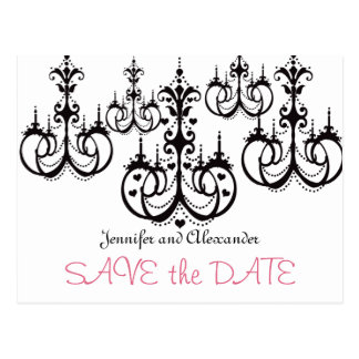 Save the Date Postcards with Chandeliers