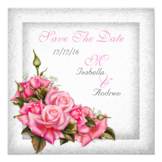 Save The Date Pretty Pink Roses White 13 Cm X 13 Cm Square Invitation Card
