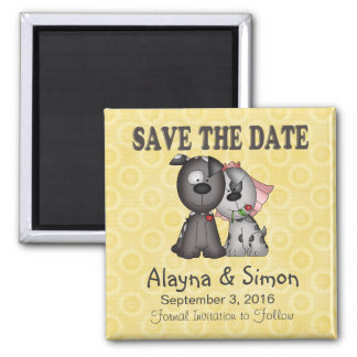 Save the Date Puppies Square Magnet