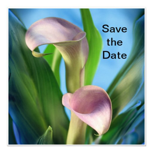 Save the Date Purple Calla Lilies Greeting Card Custom Announcement