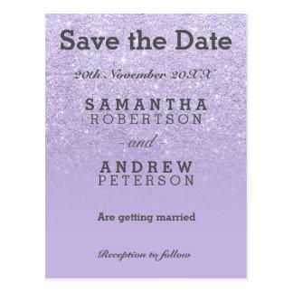 Save the Date Purple lavender faux glitter ombre Postcard
