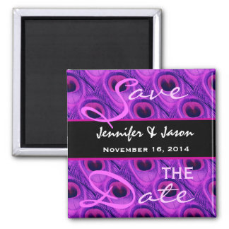 Save the Date Purple Peacock Feathers Fridge Magnet