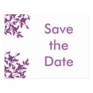 Save the date purple! postcard