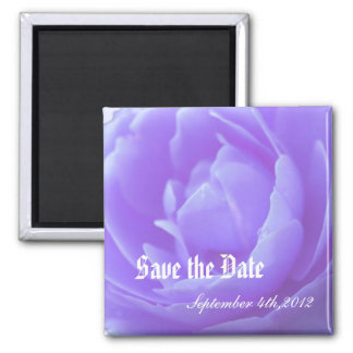 Save the date,purple rose flower square magnet