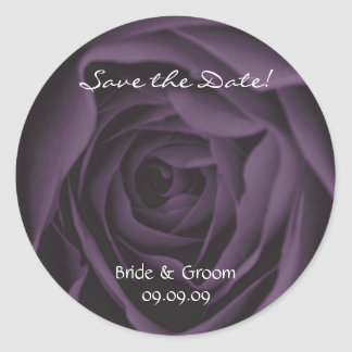 Save the Date Purple Rose Wedding Stickers