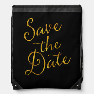 Save The Date Quote Gold Faux Foil Engagement Backpack