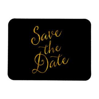 Save The Date Quote Gold Faux Foil Engagement Rectangular Photo Magnet