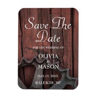 Save The Date Red Barn Wood Rustic Wheel Wedding Magnet