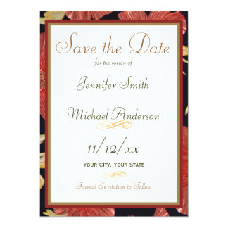 Save the Date Red Black Floral Wedding 11 Cm X 16 Cm Invitation Card