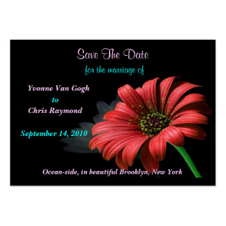 Save The Date Red Daisy Business Cards