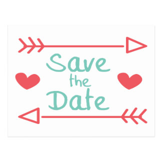 Save The Date Red Hearts & Blue Turquoise Arrows Postcard