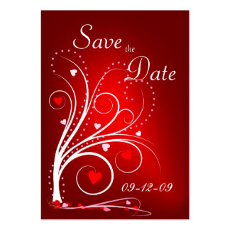 Save the Date - Red Hearts Profile Card Pack Of Chubby Business Cards