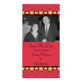 save the date red lace picture card