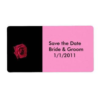 Save the Date Red Rose Label Shipping Label