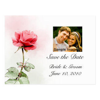 Save the Date - Red Rose Photo Postcard