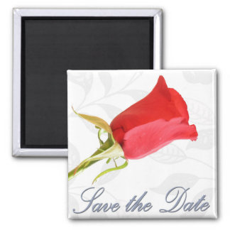 Save the Date - Red Rose Square Magnet