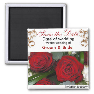 Save The Date Red Roses Fridge Magnets