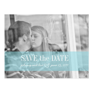 save the date | red & tiffany blue postcard