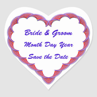 Save the Date Red White and Blue Heart Heart Sticker