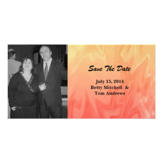 Save the Date Red Yellow Texture Customized Photo Card