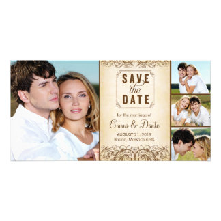 Save the Date | Regal Union Brown Announcement Photo Card Template