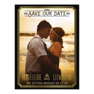 Save the Date Retro Black Gold Deco Wedding Photo Magnetic Invitations