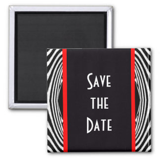 Save the Date Retro Chic Wedding Zebra Zigzag Square Magnet