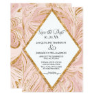 Save the Date Rose Gold Faux Glitter Marble Blush Card