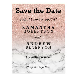 Save the Date rose gold faux glitter ombre marble Postcard