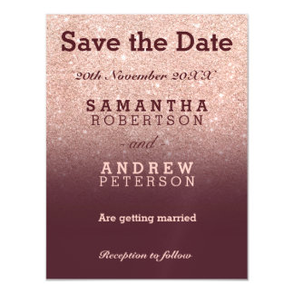 Save the Date rose gold glitter burgundy ombre Magnetic Card