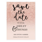 Save the Date Rose gold glitter pink ombre script Postcard