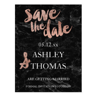 Save the Date Rose gold typography black marble Postcard