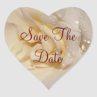 Save The Date Rose Heart Stickers