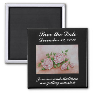 Save the Date Roses Wedding Announcement Magnet