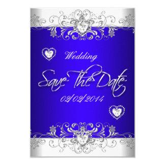 Save The Date Royal blue Wedding White Diamond Hea 9 Cm X 13 Cm Invitation Card