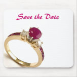 Save The Date Ruby Ring Mousepad