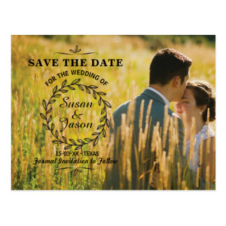 Save The Date Rustic Postcard Photo Wedding Card