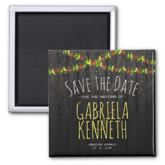Save the Date Rustic Tropical Hot Peppers Magnet