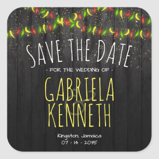 Save the Date Rustic Tropical Hot Peppers Square Sticker