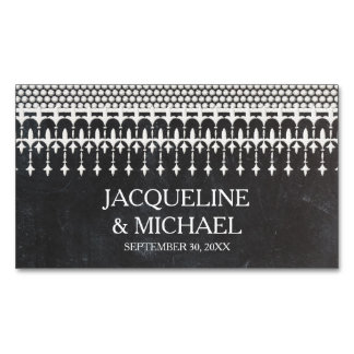 Save the Date Rustic Vintage Lace Chalkboard Magnetic Business Cards