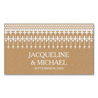 Save the Date Rustic Vintage Lace Kraft Paper Magnetic Business Cards