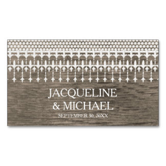 Save the Date Rustic Vintage Lace Wooden Board Magnetic Business Cards