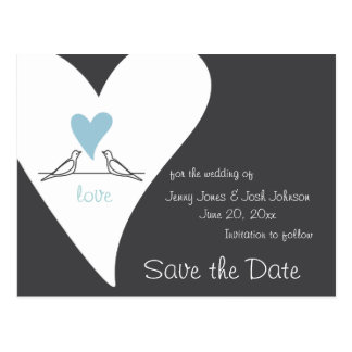Save the Date Rustic Wedding Light Blue Heart Postcard